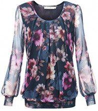 baishenggt, maglietta a manica lunga, girocollo, stretch, con pieghe Blu-Rosa L