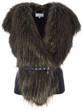 Gilet in eco-pelliccia con fondo e schiena in maglia I2UAARMYGREE