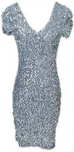 Anna-Kaci Donna Manica Corta Paillettes Scollo a V Bodycon Mini Club Dress