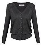 Angvns Donna Casual manica lunga con scollo a V Button Solida Moda maglieria Outwear
