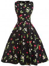 Fairy Couple DRT017 - Vestito svasato, stile vintage anni '50, motivo floreale con fiocco, abito da cocktail Cherry M