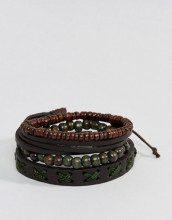 Confezione di braccialetti in pelle e con perline marrone e kaki