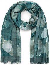 styleBREAKER Sciarpa da donna con motivo a cuori e frange, sciarpa invernale, stola, foulard 01017084, colore:Petrolio