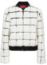 Faux-fur bomber jacket with contrast lines