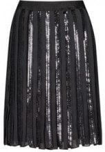 A-line plissé skirt with sequinned panels