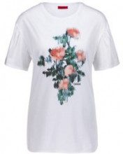 T-shirt relaxed fit in cotone Pima con stampa a fiori