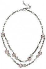 Cristalina-Orecchini con cristalli Swarovski, colore rosa e bianco con motivo a ghirlanda floreale, 48,5, lunghezza 46 cm