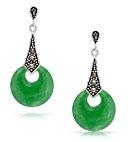 Bling Jewelry 925 Sterling Silver Marcasite colorato di verde giada penzolare orecchini