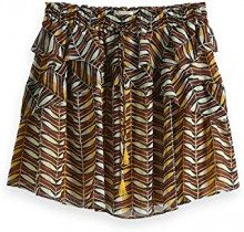 Scotch & Soda Maison Printed Skirt with Ruffles, Gonna Donna, Multicolore (Combo H 0587), X-Large