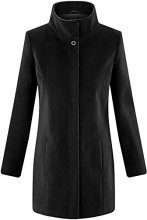 oodji Collection Donna Cappotto con Collo Alto e Finitura in Ecopelle, Nero, IT 40 / EU 36 / XS