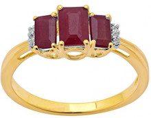 Jewelili Donna 9 carati oro giallo smeraldo rosso Rubino Topazio FASHIONRING