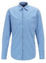Camicia regular fit in cotone elasticizzato a quadri Vichy