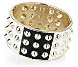 Bracciale alla moda con dettagli con borchie, colore: bianco, nero e oro