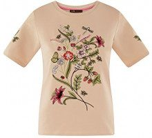 oodji Ultra Donna T-Shirt in Cotone con Ricamo, Beige, IT 46 / EU 42 / L