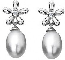 Hot Diamonds Donna Argento 925/1000 Argento 925/1000 Perla d'acqua dolce cinese Diamante Diamante Perla FINEEARRING