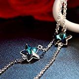 Bracciale da Donna Argento 925 Stella Stelle Swarovski Cristalli - Blu