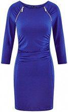 oodji Collection Donna Abito Aderente con Zip Decorative, Blu, IT 48 / EU 44 / XL