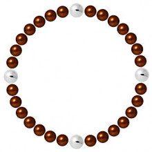 Pearls & Colors Donna Argento 925 Argento rotonda rotonda Cinese d'acqua dolce coltivata Brown perla