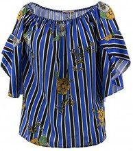 Netgozio Maglia Maglietta Donna T-Shirt Maniche Campana A Righe Scollato Moda Italy blu Taglia unica