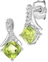 Naava Donna 9 carati oro bianco Rotonda verde Peridoto Diamante