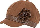 Sakkas – berretto da donna in misto lana / berretto tassista invernale / cappello con note floreali in finta pelle