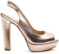 Sandali con tacco alto oro rosa