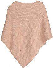styleBREAKER Poncho da Donna in Maglia fine con Applicazione di Perle, Girocollo 08010056, Colore:Rosa Antico