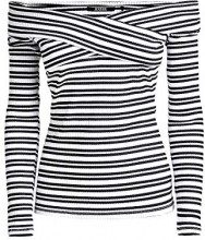 Guess EMILIANE Top, Blusa Donna, (White & Black Stripe S087), Small (Taglia Produttore:S)