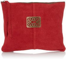 Sous les Pavés Mini Sunrise Pochette Donna, (Velours Rouge/Rectangle), Taglia unica