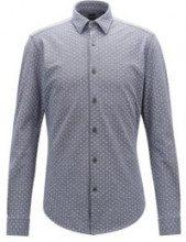Camicia slim fit in piqué di jersey con motivo esclusivo