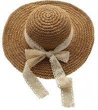 Urban GoCo Donne Moda Estate Spiaggia Bowknot Tesa Larga Pieghevole Cappello Della Benna Cappello Da Sole Di Paglia (Taglia unica, #2 Khaki)