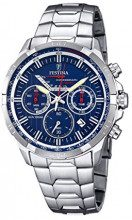 Orologio a quarzo da uomo marca Festina con quadrante cronografo blu e cinturino grigio in acciaio inox, orologio F6836/3