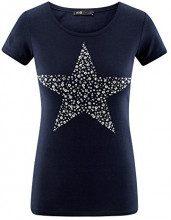 oodji Ultra Donna T-Shirt con Applique Stella in Strass, Blu, IT 38 / EU 34 / XXS