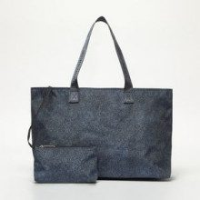 Borbonese Borsa Shopping Simple Flexos Blu E Blu Chiaro 45x30x20 cm
