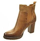 Angkorly - Scarpe da Moda Stivaletti - Scarponcini chelsea boots low boots donna pelle di serpente Tacco a blocco tacco alto 8 CM - soletta Foderato di Pelliccia - Cammello