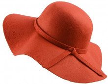 Urban GoCo Donne Ragazza Cappello di Lana Tesa Larga in Feltro Bombetta Fedora Cappello Floscio Cloche (Mandarin Red)