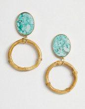 Orecchini oro con cerchio in resina marmo e bambù