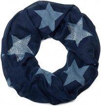 styleBREAKER sciarpa scaldacollo con disegni a stella e un'elegate applicazione di strass, Donna 01018086, colore:Blu notte-Blu