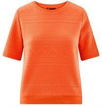 oodji Collection Donna Maglioncino in Tessuto Strutturato con Maniche Corte, Arancione, IT 46 / EU 42 / L