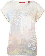 s.Oliver 14.902.32.4711, T-Shirt Donna, Avorio (Creme Placed Print 02e0), 42 (Taglia Produttore: 36)