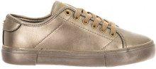 Sneakers con lacci oro
