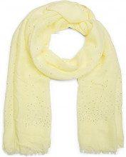 styleBREAKER pashmina leggera a tinta unita ricoperta di perline e strass e con frange, foulard, da donna 01016154, colore:Giallo