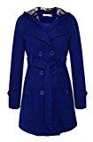 Angvns Donna moda doppio petto cappotto con cintura giacca in pile con cappuccio