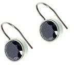 Orecchini gioielli in acciaio inox Trend zone, orecchini, cristallo nero zirconi, diametro 9mm, anti allergeni no 500053