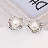 LDUDU® Orecchini femminile bianco perla placcato in oro bianco di 18k regalo ideale per Cmpleanno, Natale, San Valentino