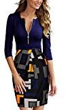 Miusol Vestiti Donna Vintage Maniche a 3/4 Frontale Zip Vestito Abito de Sera