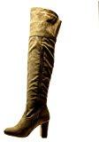 Angkorly - Scarpe Moda Stivali Alti Stivali - Scarponi cavalier sexy flessibile donna nodo merletto Tacco a blocco alto 8.5 CM
