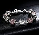 A TE® Bracciale Charms Rosa Cristalli Smalto Cuore Ciondolo Regalo 18cm/20cm#JW-B127