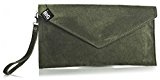 Big Handbag Shop vera pelle scamosciata Busta Frizione Borsa per feste e matrimoni, verde (Medium Olive (LQ925)), Small