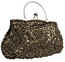 BCM - Borsetta clutch da sera chiusura rigida decorata con paillettes interno in satin
